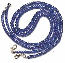 """Natural Gem Top Quality Tanzanite Smooth 4 to 6MM Rondelle Beads Necklace 17"""""""