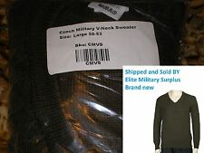 Czech Military V-Neck Sweater size Large army military surplus  wool blend nice