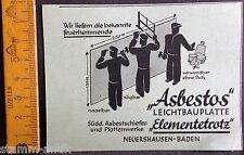 Asbestos Leichtbauplatte,sägbar,Elementetrotz,Neuershausen,orig.Anzeige 1936
