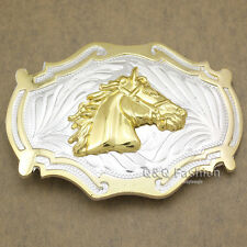 Western Country Gold & Silver Cowboy Bridle Horse Head Belt Buckle Line Dance