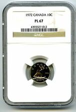 1972 CANADA DIME 10 CENT NGC PL67 PROOF LIKE RARE HIGH GRADE CERTIFIED TOP POP4