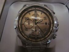 FOSSIL Mens FS5163 Dean Chronograph White Dial Silver Stainless Steel  Watch NWB