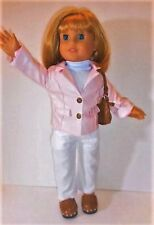 """Doll Clothes AG 18"""" Pants Jacket Leather Pink Top Made For American Girl Dolls"""