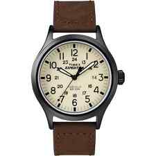 Timex T49963, Men's Expedition Scout Brown Leather Watch, Date, T499639J