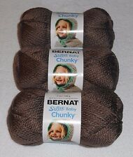 "Bernat Softee ""Baby"" Chunky Yarn Lot Of 3 Skeins (Teddy Brown #96016) 5 oz."