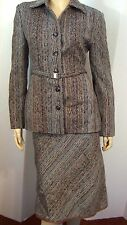PHILIPPE ADEC Gray Brown Herringbone Striped Belted Jacket ALine Skirt Suit 8 10