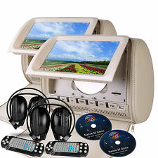 "Beige 2x 9"" HD LCD Car Pillow Headrest Monitor DVD Player IR Wireless Headphone"