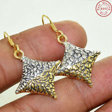 """Solid 925 Sterling Silver With Gold Plated Fine Earring Jewellery S 1 1/2"""" AG486"""