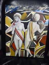 Two Nudes, Pottery Pot, Multicolor Background Painting by Marcelo B