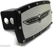 "Jeep Trailhawk Billet Aluminum 2"" Hitch Cover Plug Engraved Black Powder Coated"