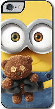 Cover per iPhone 7 con stampa Minions inspired, Bob con orsetto teddy bear
