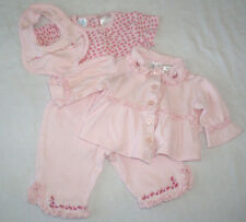 INFANT GIRLS SET by SMALL WONDERS 4 pc jacket body suit pants bib, pink  6-9 Mos