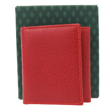 Authentic GUCCI Logos Bifold Coin Case Wallet Purse Leather Red Italy 08Z930