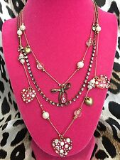 Betsey Johnson Clear Pink Lucite Crystal AB Bow Pearl Heart Layered Necklace