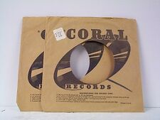 2-CORAL  RECORD COMPANY 45's SLEEVES  LOT # A-378