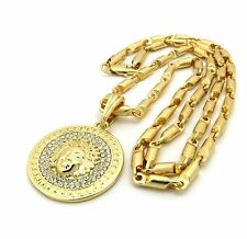 """NEW ICED OUT GOLD PT MEDUSA FACE MICRO PENDANT W/ 4mm/24"""" BULLET CHAIN NECKLACE"""