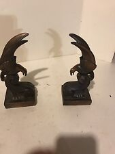 Vintage Antique Bronze Bookends Set Of 2 Bird Eagle Raptor Falcon Pair