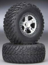 Traxxas Slash 2wd Front Off-Road Racing Tires w/ Satin Chrome Wheels 5875