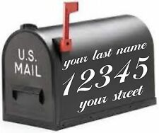 Mailbox lettering Decal, Address last name and numbers 6''x11'' white 2 sides