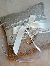 Simple Hessian Lace Satin Wedding Ring Cushion Pillow Rustic Shabby Chic Vintage