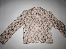 Rebecca Taylor Women's Floral Jacket Size 10 NWT Long Sleeves Beige Pink Green