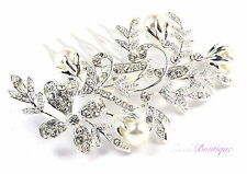 Bridal Wedding Vintage Vine Flower Crystal & Pearl Silver Hair Comb Slide HC11