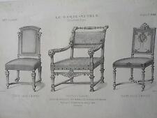 Chaise Fauteuil style LOUIS XIII GRAVURE le GARDE-MEUBLE DESTOUCHES XIXéme