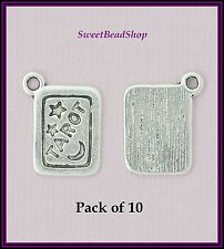 10 Antique Silver Colour 18 x 14mm Tarot Card Pagan Wicca Charms