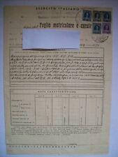 FOGLIO MATRICOLARE CAMPAGNA DI GUERRA 1915-16-17-18 MARCA BOLLO 4 L  (m26-1-7 )