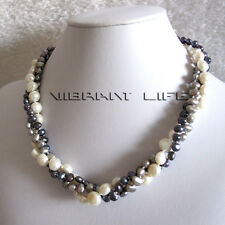"""18"""" 5-9mm 3Row Baroque White Peacock Gray Freshwater Pearl Necklace Jewelry U"""