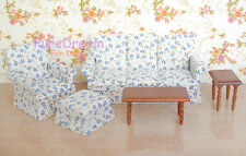 Dollhouse Living Room Furniture set 5pcs Couch armchair ottoman and two tables
