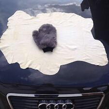 SHEEPSKIN MITT + CHAMOIS LEATHER CAR POLISHING LAMBSWOOL WASHING CLEANING POLISH