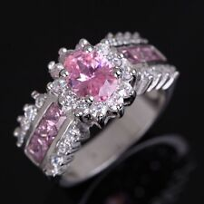 Jewelry Size 7-11 Popular Pink Topaz Halo 10K Gold Filled Women's Wedding Rings