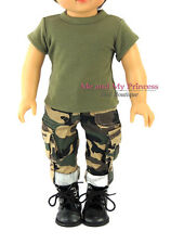 Army Camouflage Pants + Shirt + Boots Clothes for 18 inch American Girl Boy Doll