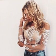 Women Off Shoulder Crochet Tops Long Sleeve Lace Flower Blouse Transparent Shirt