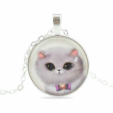 Vintage Style Glass Pendant Blue Grey Cute Cat Kitty Elegant Necklace N457