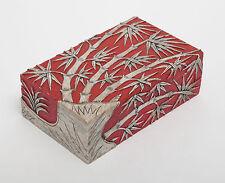 Chino Tallado Hardstone Caja y cubierta con bambú y Rojo terreno