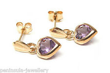 9ct Gold Amethyst Heart Drop Earrings Gift Boxed Made in UK