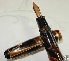 WYVERN PERFECT No 81 FOUNTAIN PEN BROWN MARBLE 14K GOLD MED SMOOTH NIB RESTORED