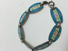 "Sterling Silver Blue Enameled LINK Bracelet with Pink Flowers 7"" VINTAGE"