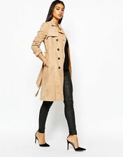 BNWT LIPSY NUDE SUEDE TIE WAIST DOUBLE BREASTED TRENCH COAT SIZE 10