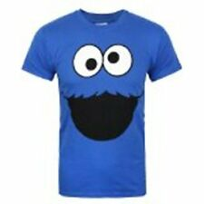 Funny T-Shirt Sesame Street Cookie Monster Face Blue Color (Size M)