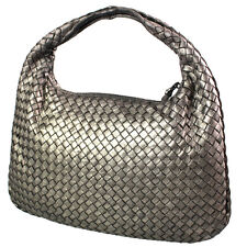 Bottega Veneta Woven Intrecciato One-Shoulder Bag Metallic Gray Auth #1927