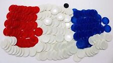 LOT OF 187 PIECES OF PLASTIC POKER CHIPS 47 RED 97 WHITE 45 BLUE CHIPS