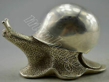 Collectible Decorated Old Handwork Silver Plate Copper Carved Snail Statue