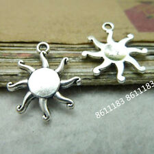 20pc Tibetan Silver Flower Sun Pendant Charms Beads Jewellery Craft    GP246