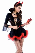 Women's Miss Iblis Devil Halloween Fancy Dress Costume With Horns & Trident
