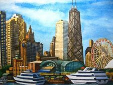 Origina Painting Chicago Illinois Navy Pier Lake Michigan Skyscrapers Art