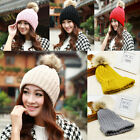 New Lady Winter Warm Wool Knit Crochet Raccoon Fur Beanie Pom Bobble Ski Hat Cap