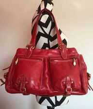 EUC Francesco Biasia Red Leather Shoulder Bag Handbag Purse